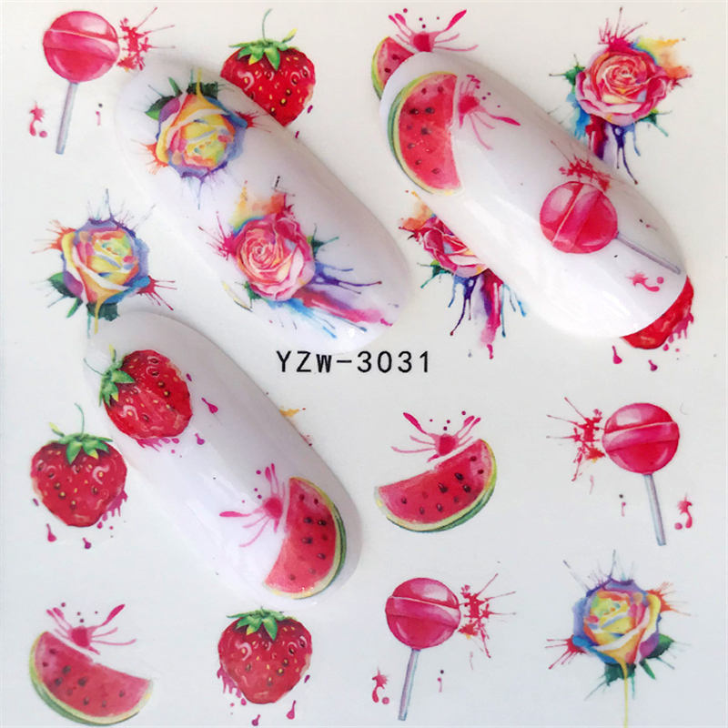 YZWLE 1 Sheet Water Transfer Nail Sticker Decals Fruit Watermelon/Strawberry Beauty Decoration Designs DIY Color Tattoo Tip