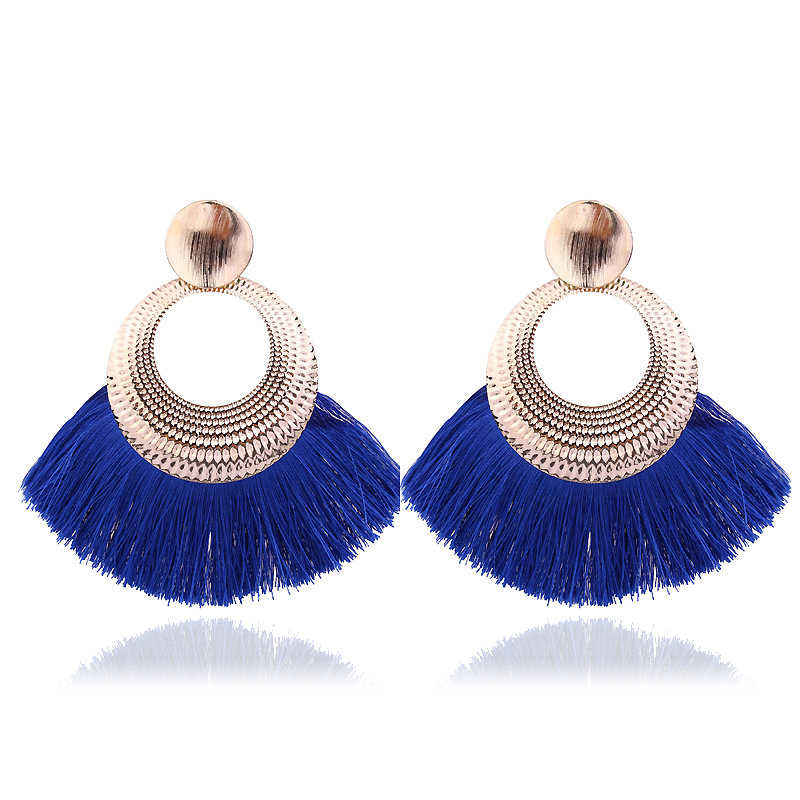 New Bohemian Handmade Tassel Earrings For Women Vintage Long Drop Boho Earrings Cotton Rope Weave Fringe Sector Jewelry