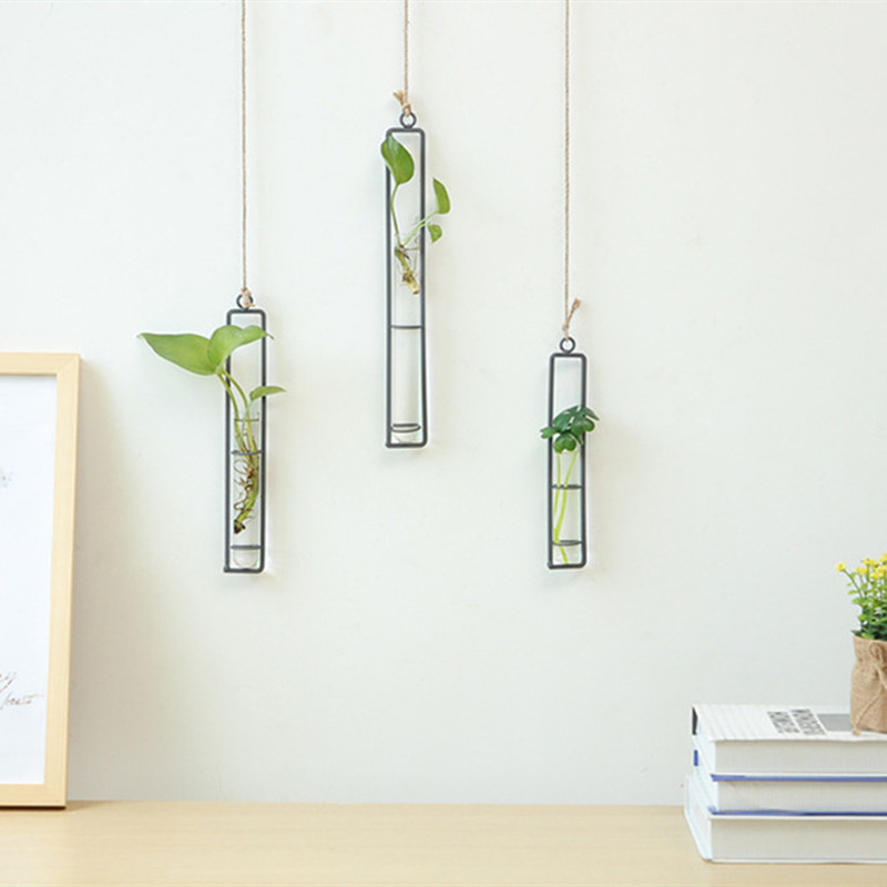 Creative Wall Hanging Flower Vase Iron Glass Hydroponics Planter Pot Transparent Hanging Flower Bottle Home Ornament Decoration in Vases from Home Garden