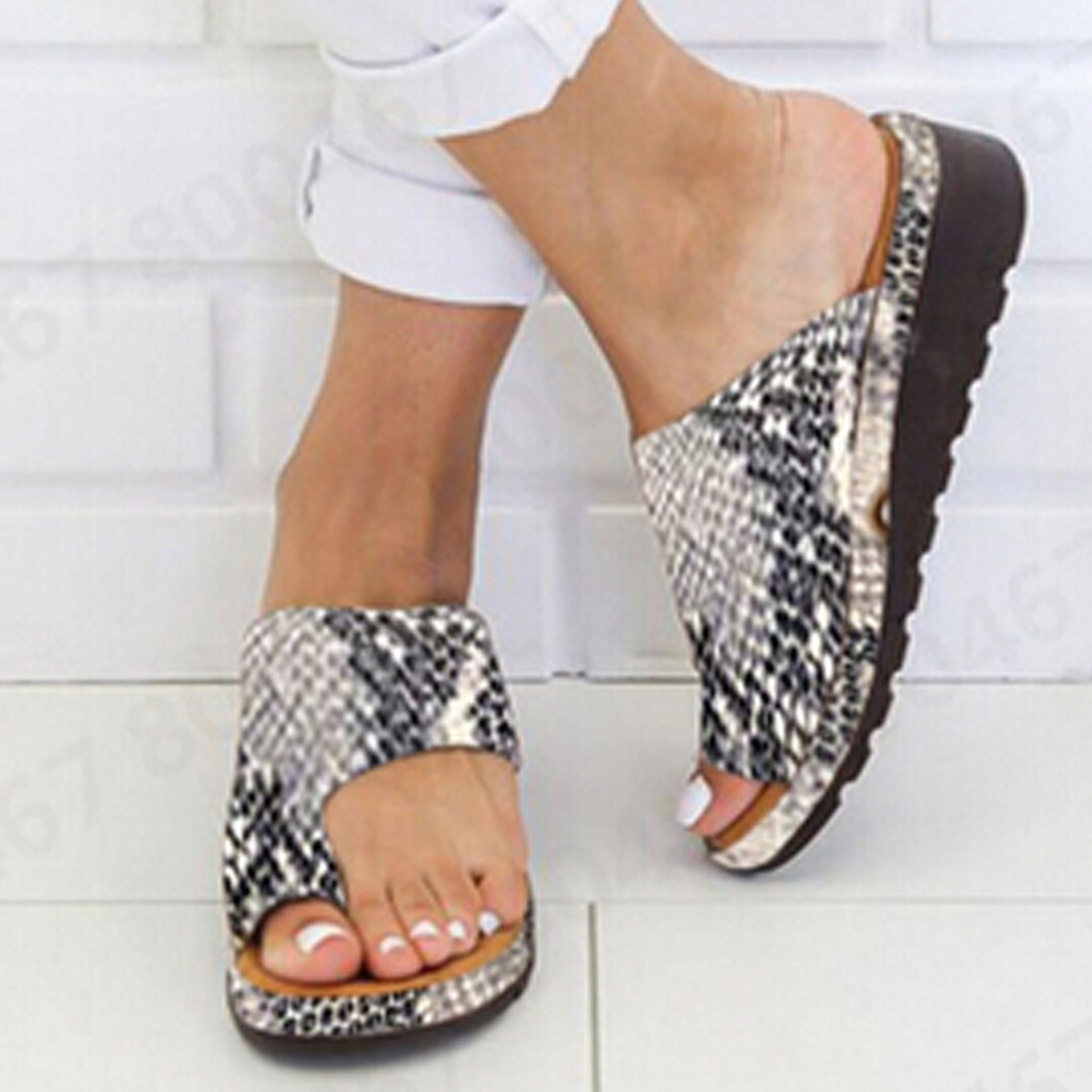 Women Leather Shoes Comfy Platform Flat Sole Ladies Casual Soft Big Toe Foot Correction Sandal Orthopedic Bunion Corrector 6J11