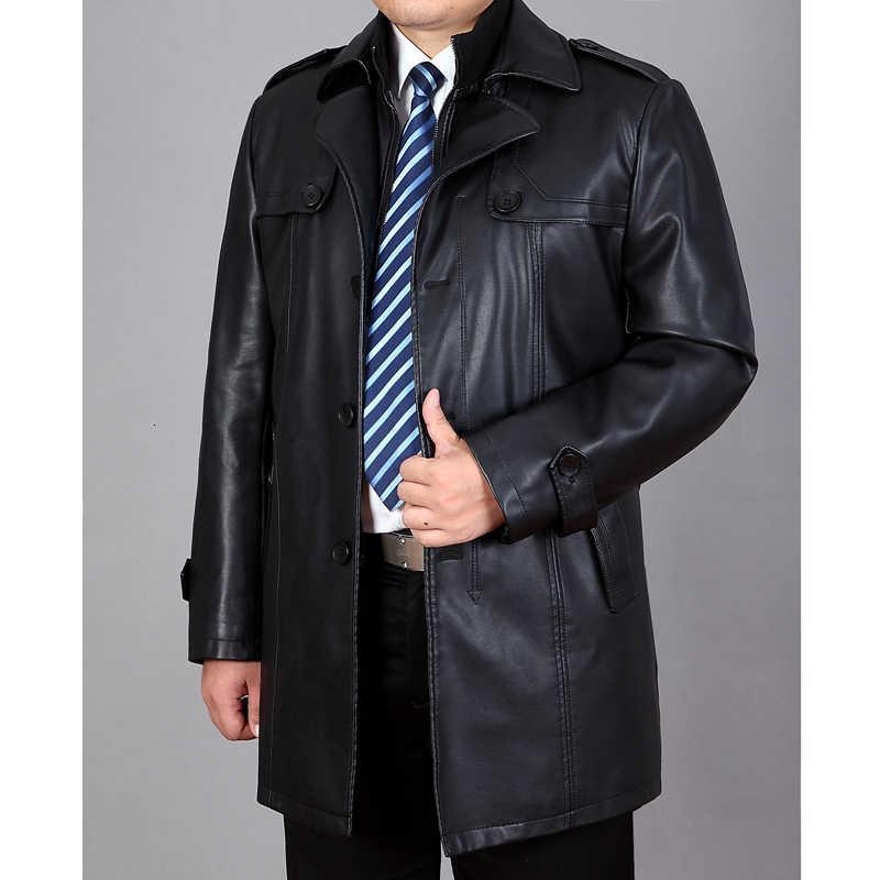새로운 남성 가죽 외투, 남성 가죽 재킷, 가을과 겨울에 큰 M-4xl