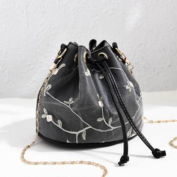 Luxury  Embroidered PU Leather Chain Crossbody Bucket Bag 2