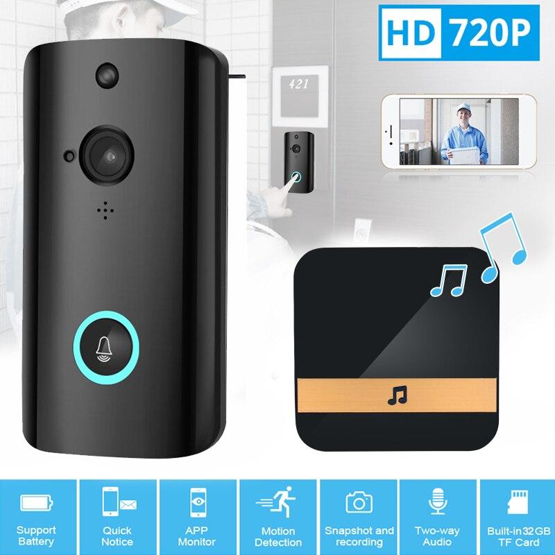 Sonnette intelligente sans fil 720P HD grand angle alarme basse puissance pousser plusieurs utilisateurs regarder en ligne en même temps de la musique (52 types)