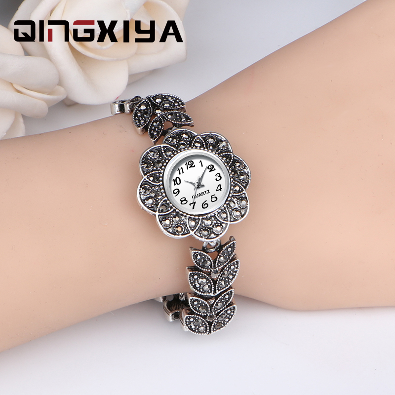 QINGXIYA New Women Luxury Brand Quartz Watch Lady Fashion Silver Bracelet Watches Ladies Wristwatch Relogio Feminino Reloj Mujer
