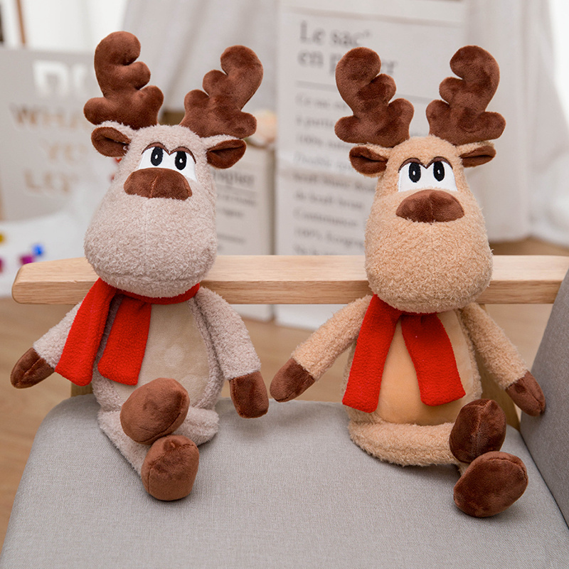 2019 Stuffed Animal Soft Toys Moose Creative Red Scarf Reindeer Plush Doll, Kids Toy Christmas New Year Gift Toys For Children