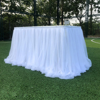 1m Colorful Tulle Tutu Table Skirt Tulle Tableware For Wedding Decoration Baby Shower Party Wedding Home Textile Birthday Party