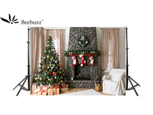 Beebuzz photo backdrop christmas tree gifts decorated background