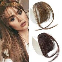 XINRAN заколка для волос челка для волос Синтетические накладные челки для волос заколка для наращивания Air челка на заколке челка черный кори...
