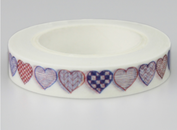 8mm*10m Colorful Heart Diy Decorative Washi Masking Tape(1piece)