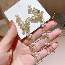 Temperament Pearl Butterfly Tassel Long Earrings 2020 New Fashion Jewelry Personality Hanging Drop Dangle Wholesale