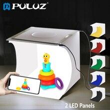 PULUZ 2 led lekka skrzynka świetlna box Mini namiot do zdjęć 1100 lm fotografia skrzynka świetlna Studio strzelanie pudełko w kształcie namiotu zestaw i 6 kolorów tła