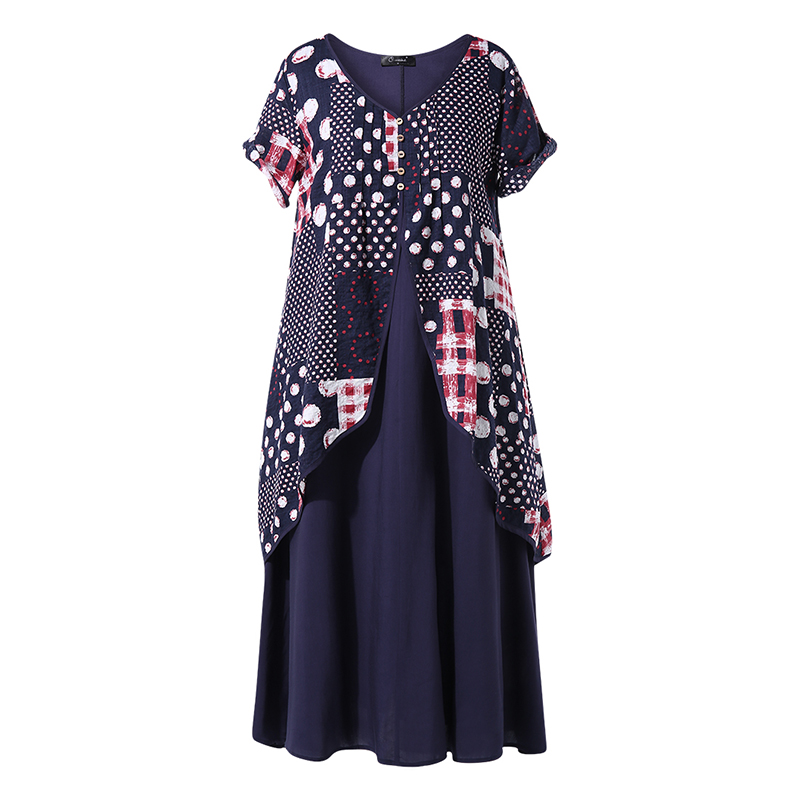 2020 ZANZEA  Maxi Long Dress Autumn Summer Dress Women Polka Dot Print Patchwork Pleated Plus Size Sexy V Neck Vestidos Sundress 5