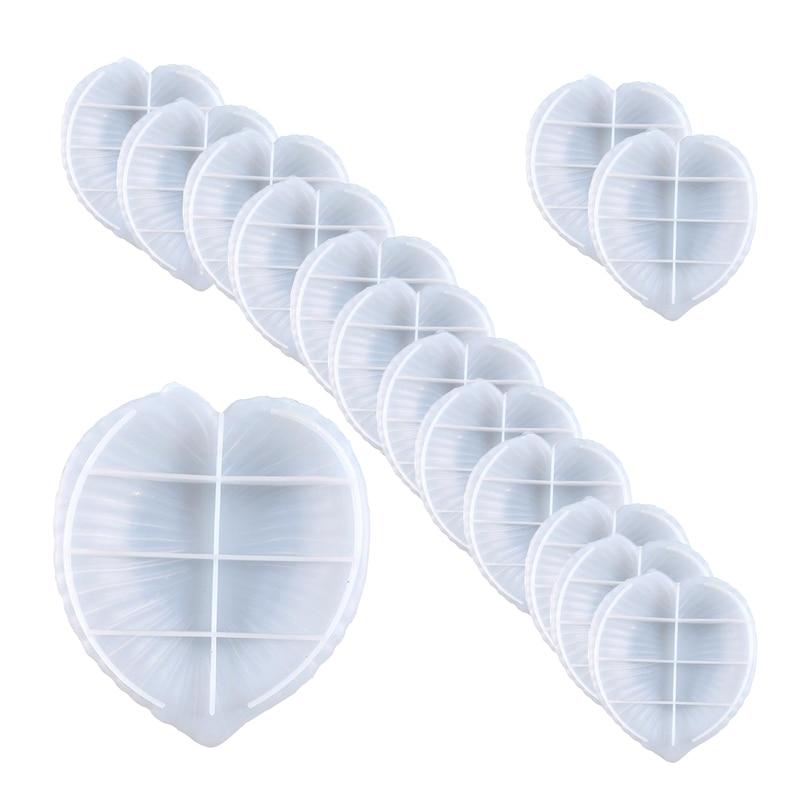 15Pcs Leaf Disc Fruit Snack Storage Silicone Diy Crystal Glue Mold