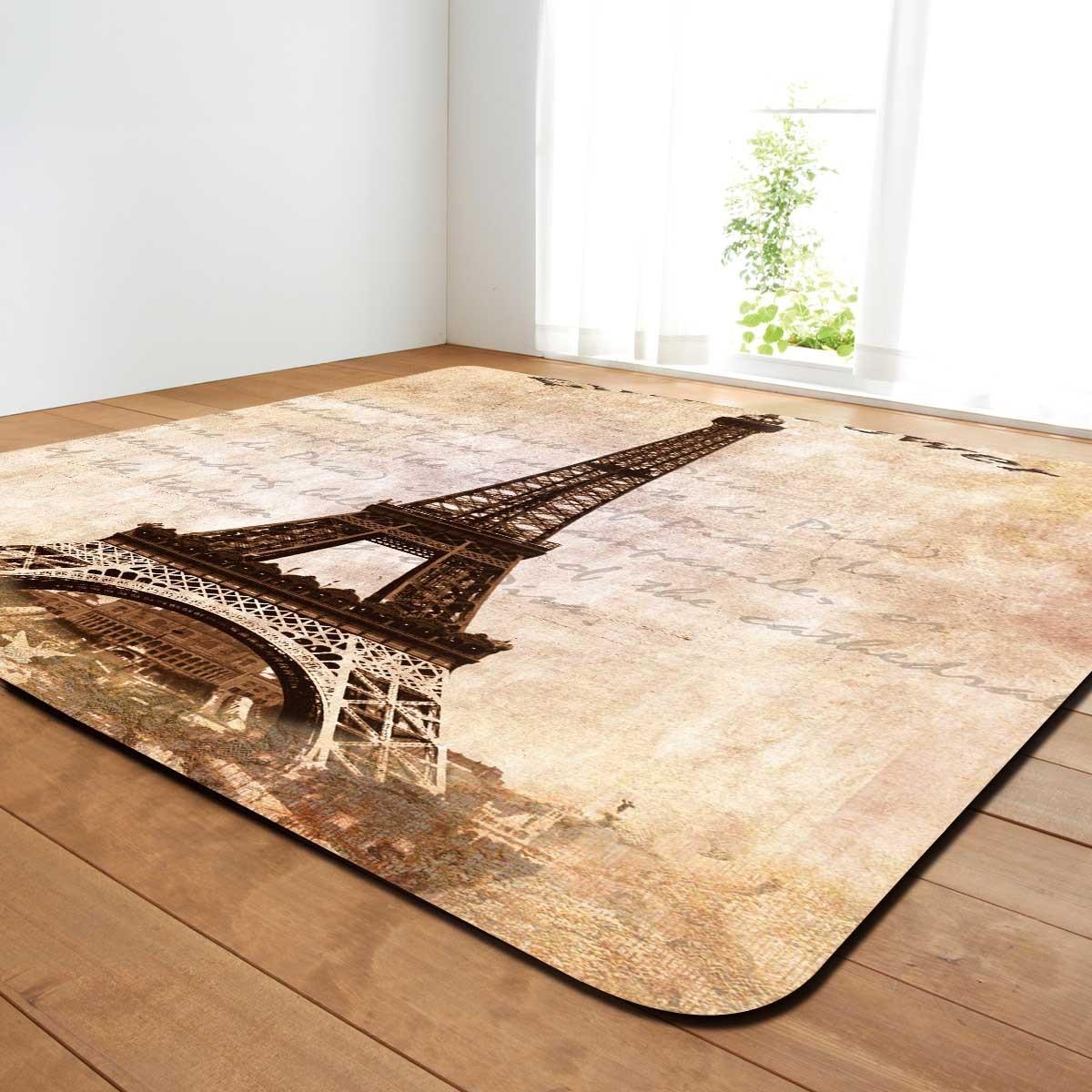 T salon Rectangle tapis pour salon rétro tour impression zone tapis pour décor à la maison anti-dérapant chambre tapis grande couverture