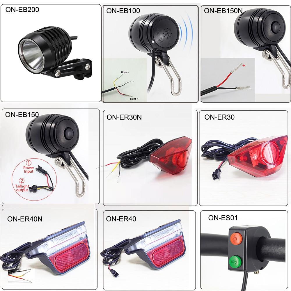 Onature Ebike Light Many Kinds Electric Bike Headlight And LED E Bike Rear Light DC 6V 12V 36V 48V 72V Ebike Accessories