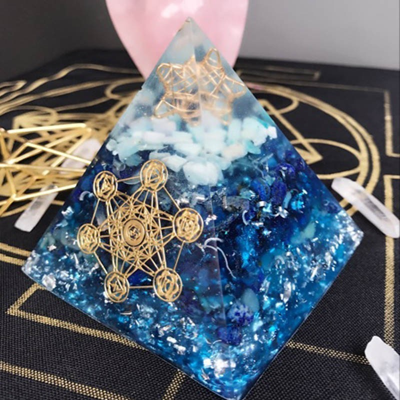 AURA Orgonite Pyramid Vishuddha/Ajna Chakra Jeremiel Amazonite Amethyst Natural Crystal Improves Wisdom Bring Lucky Pyramid
