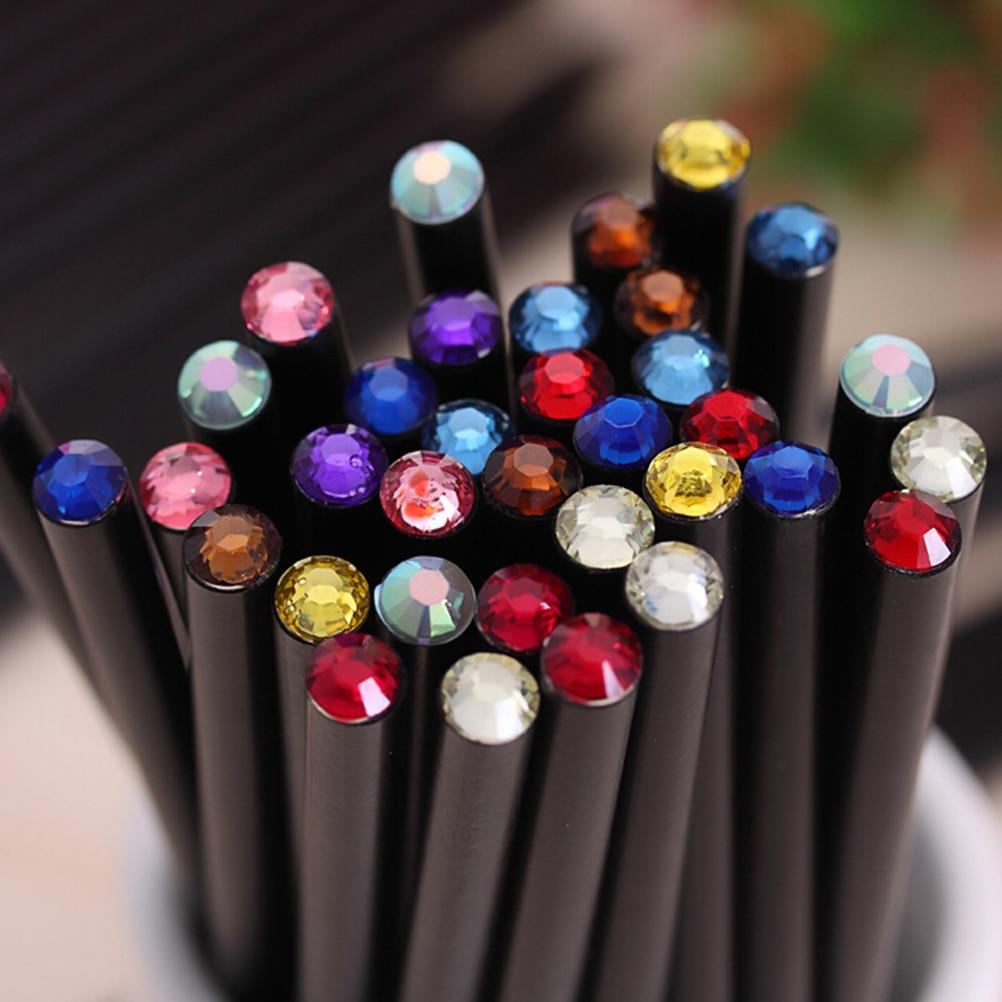 2pcs Cute DIY Kawaii Black Wood Pencil HB Acrylic Diamond Standard Pencil For Drawing Painting Supplies Black Rod Pencil