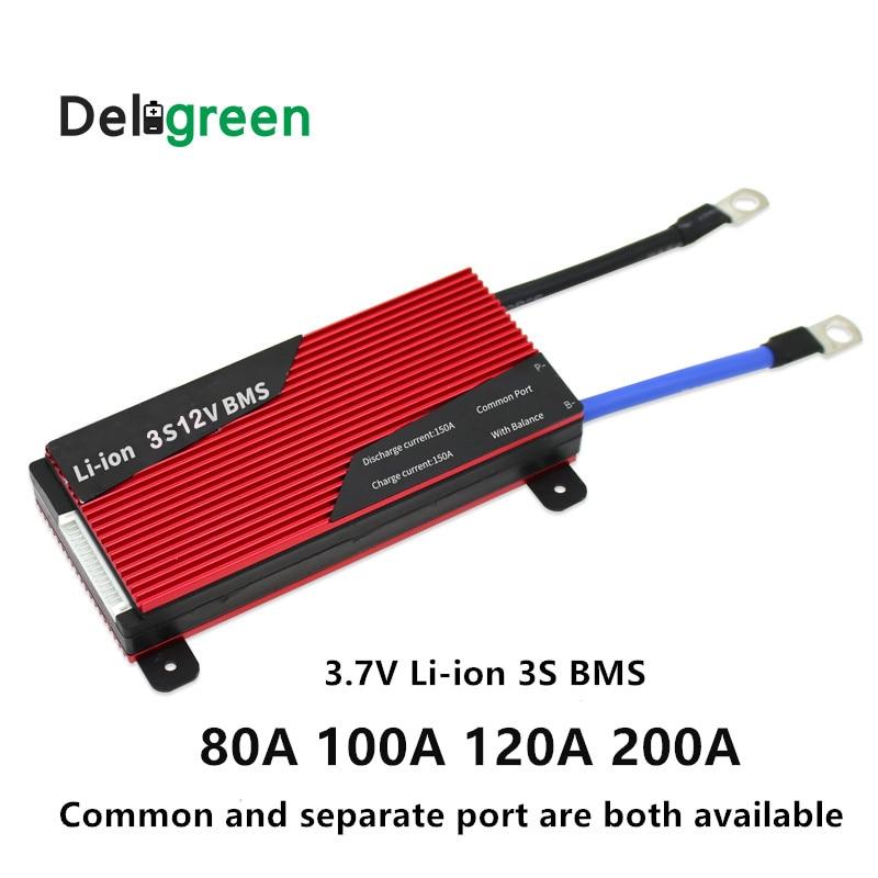 Deligreen bms 3S 12V 80A 100A 120A 200A Lithium Batterij BMS/PCB voor Li Ion lipo Batterij met balans-in Batterij accesoires van Consumentenelektronica op  Groep 1
