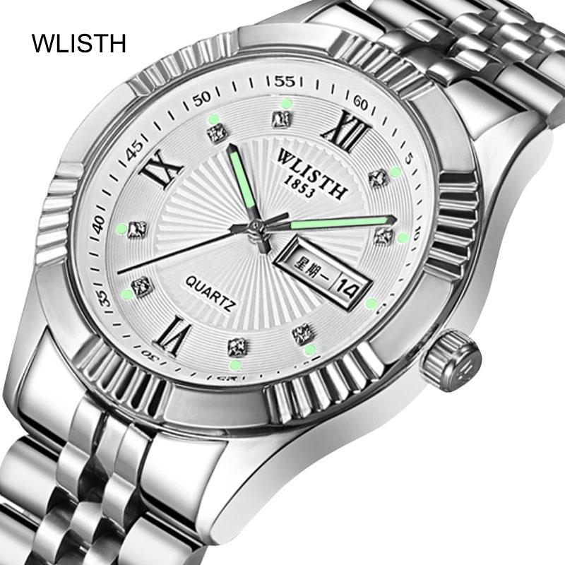 Business Fashion Stainless Steel Belt Week Calendar Gold Couple Men Women Male Female 30 Meters Waterproof Quartz Wrist Watch