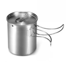 Portabel 700Ml Camping Piala Outdoor Stainless Steel Camping Mug Cangkir Air dengan/Tanpa Foldable Handle(China)