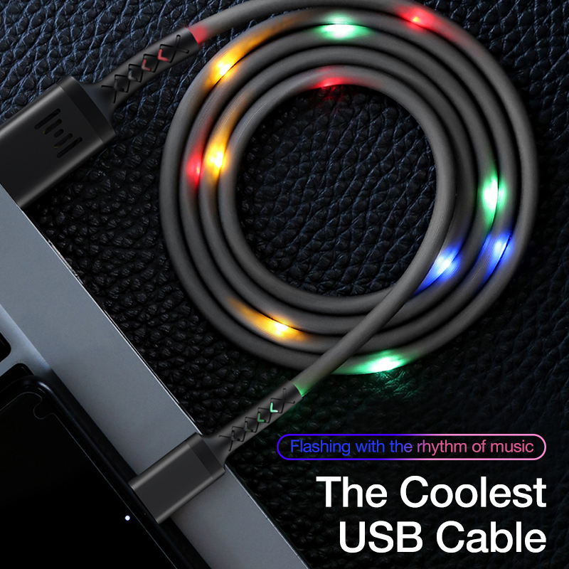 Controle de voz genai flash rgb led luz usb tipo c cabo cabo de carregamento do telefone cabo usb c cabo de carga rápida cabo de dados android
