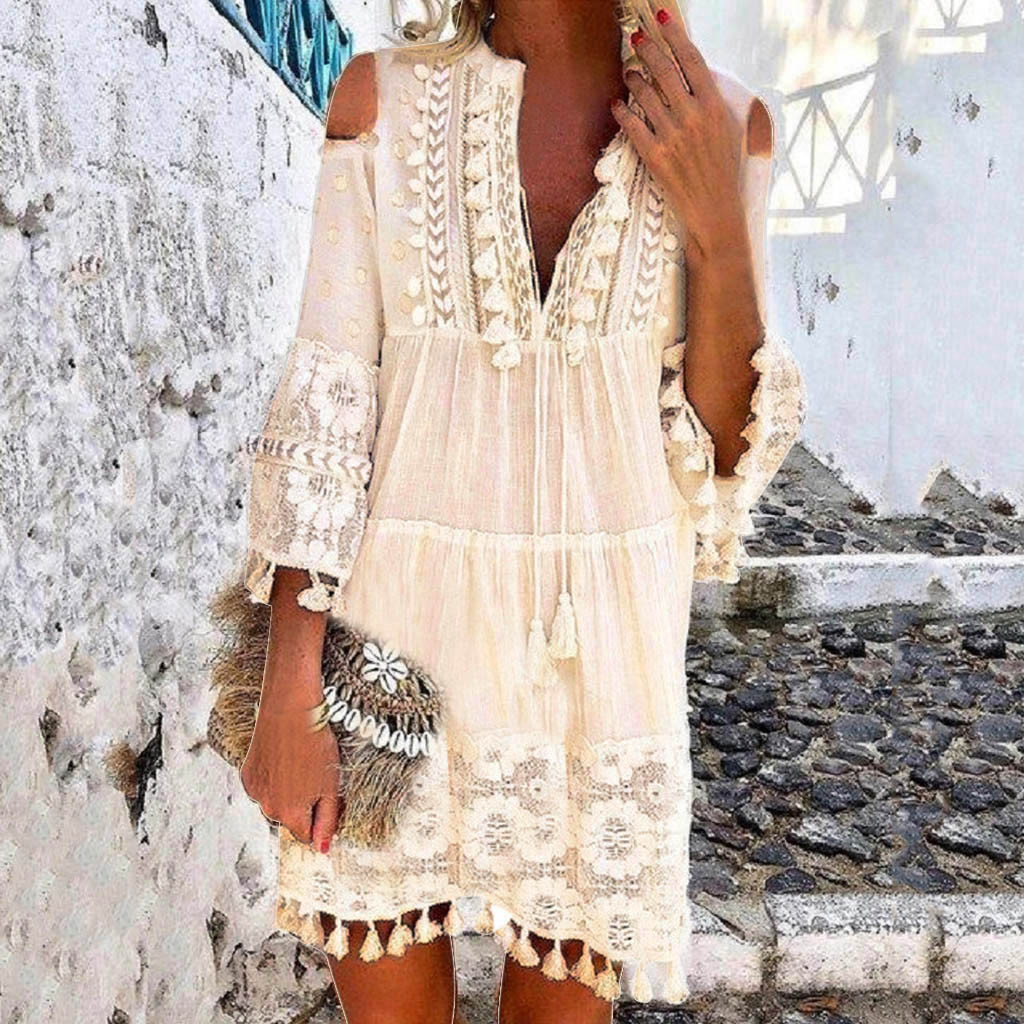 Fashion Casual Bohemian Large Size V-Neck Solid Color Lace Tassel Short Dress Cocktail Beach Evening Dress