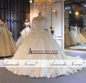Image 5 - طويلة الأكمام الكرة ثوب كامل الديكور زفاف القادمون الجدد أزياء فستان عروس