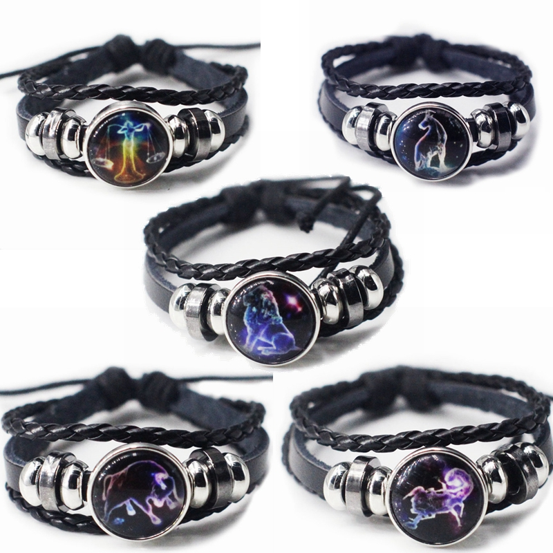 Compilation Bracelet Twelve Constellations Multilayer Braided Star Bracelet Fantasy Leather Bracelet Boy and Girl Friends Gift