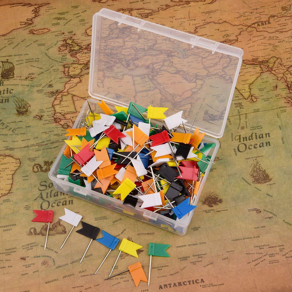 100pcs Flag Push Pins Nail Thumb Tack Cork Board Map Drawing Pins Wall Nails For Home Office School Stationery Supplies 7 Colors
