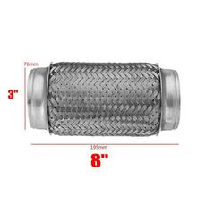 3 ID x 8 L Car Truck Double Braid Exhaust Flex Pipe Braid Tube Connector Joint Coupling Adapter  Heavy Duty Stainless Steel diy stainless steel motor universal coupling silver 4 x 3 175mm