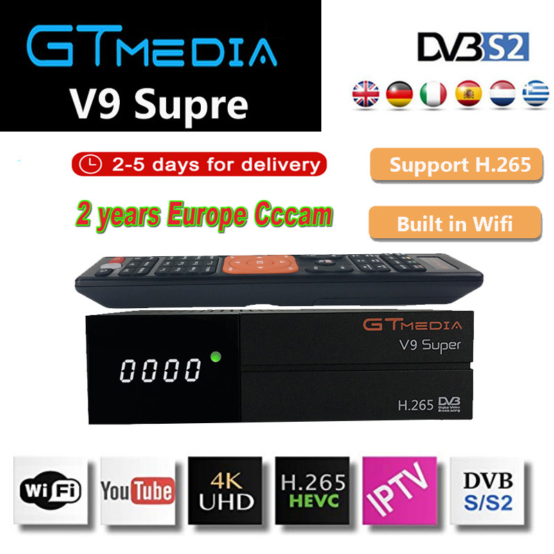 Gt media V9 Super DVB-S2 Freesat odbiornik satelitarny V8 Super nowy wersja H.265 WIFI + 2 rok europa hiszpania PT DE PO Cline dekoder telewizyjny