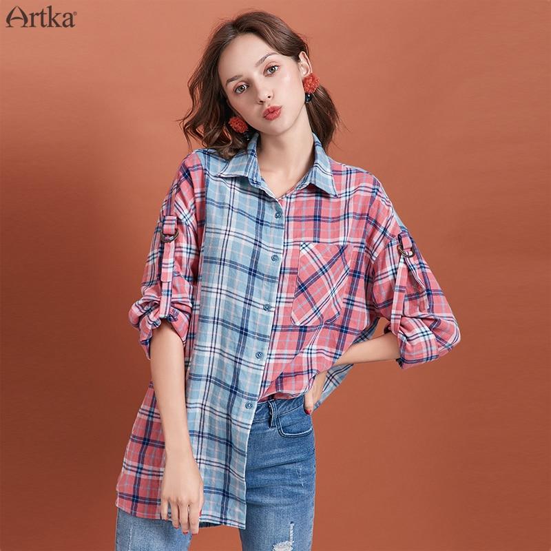 ARTKA 2019 Autumn New Women Blouses Fashion Cotton Color Stitching Plaid Shirt Turn-down Collar Casual Loose Shirt Coat SA10490Q