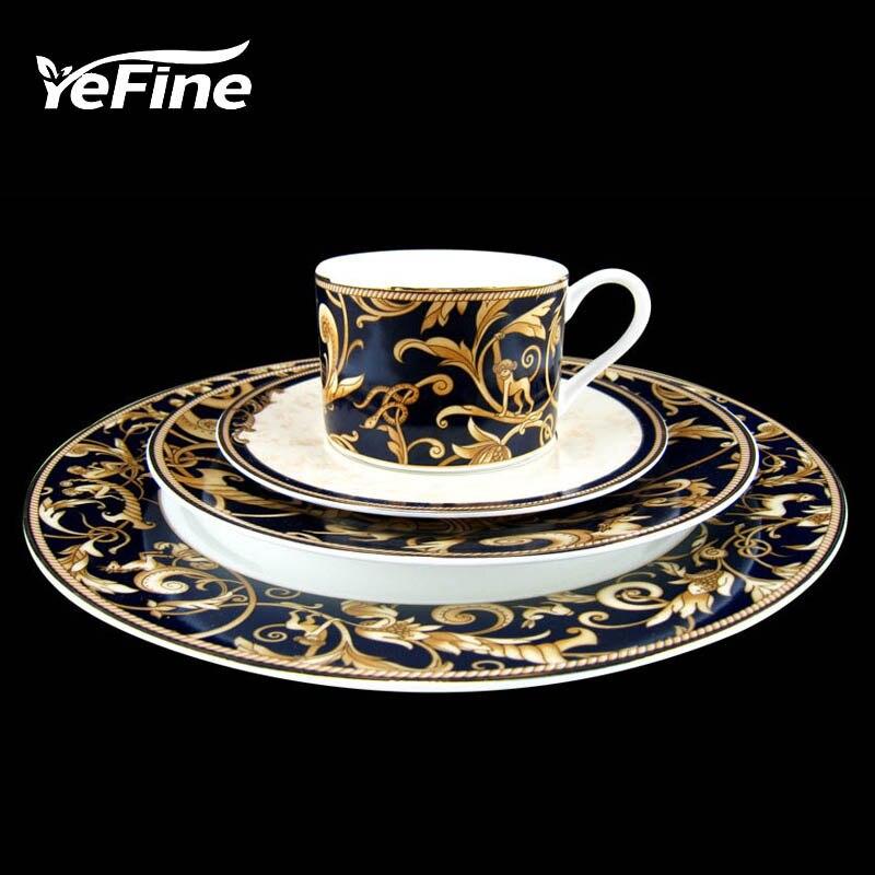 YeFine service de vaisselle en porcelaine | De haute qualité en or plaqué os assiettes de table en porcelaine, ensemble tasses et soucoupes