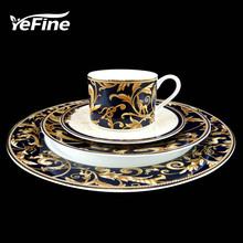 YeFine wysokiej jakości porcelanowe zastawy stołowe zestaw złocenie porcelany kostnej zestaw płytkich talerzy filiżanki ze spodkami tanie tanio Zachodnia Bone china Na szybami Złota wkładka Ce ue Lfgb Ekologiczne YF-BS002 Kubek zestaw Zestawy obiadowy