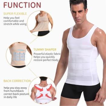 Be-In-Shape Men Slimming Body Shaper Waist Trainer Vest Tummy Control Posture Shirt Back Correction Abdomen Tank Top Shaperwear 4