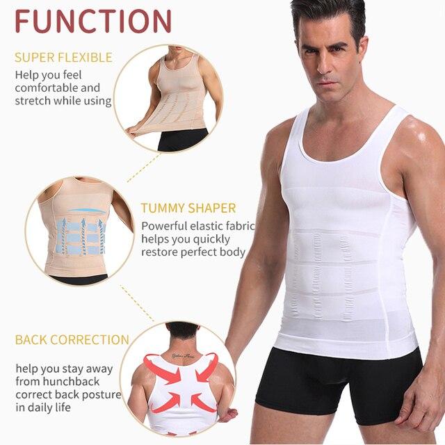 Майка мужская тренировочная с утягивающим эффектом для коррекции спины и живота для похудения 4