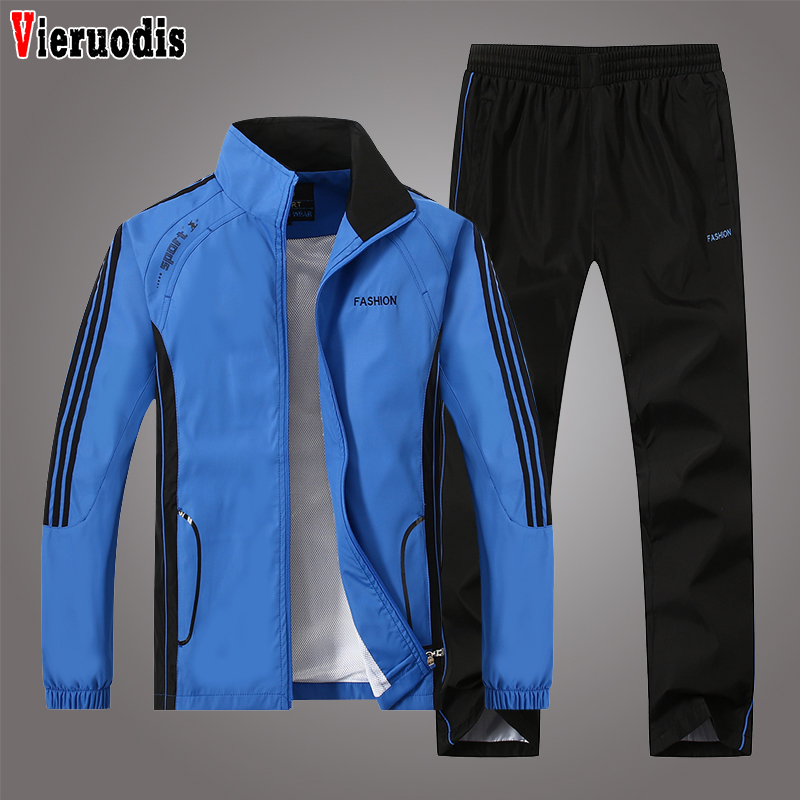 Men Casual Track Suit Sportswear Jacket+Pant Sweatsuits Plus Size 4XL 5XL Men Two Piece Clothing Sets Spring Autumn Tracksuit