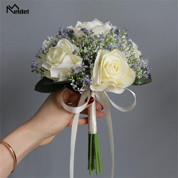 Meldel bukiet ślubny kwiaty ślubne bukiety ślubne uchwyt sztuczny kwiat bukiety ślubne jedwabna róża różowe dekoracje ślubne tanie i dobre opinie SILK 0 2kg 11 8inch Wedding Bouquet Wedding Flowers Bridal Bouquets Holder 7 8inch Artificial Flower Bridal Bouquets Silk Peony