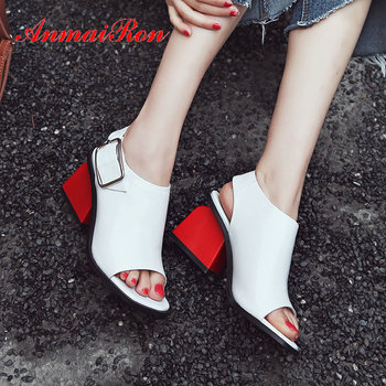 ANMAIRON 2019 Casual Genuine Leather Buckle Strap Women Shoes Synthetic Mixed Colors Back Strap Gladiator Sandals Women 34-39