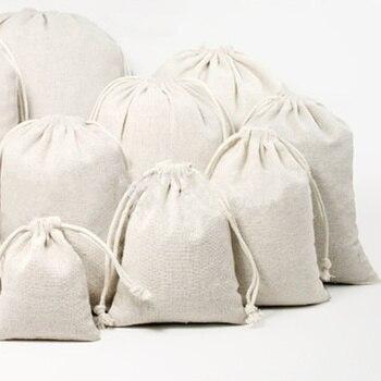 1 Pza de tela de algodón con cordón bolsa de almacenamiento ropa interior de alimentos calcetines organizador de joyas soporte de arroz de harina ambiental de cocina