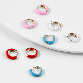 SRCOI Neon Trendy White Pink Red Blue 4 Color Metal Small Round Paint Enamel Hoop Earrings.jpg 350x350 - SRCOI Neon Trendy White Pink Red Blue 4 Color Metal Small Round Paint Enamel Hoop Earrings Colorful Mini Circle Huggie Earrings