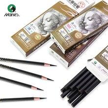 Marie's Professional Sketch Charcoal/Carbon Pencil 12pcs Soft/Medium/Hard/Extra-soft Drawing Charcoal Pens Art Supplies C7300