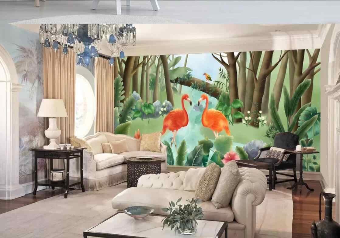 Mural De pared De flamencos tropicales De Parede Em Revo papel De Contacto lienzo rollo De papel De pared De lujo decoración para el hogar Decoración De pared De animales