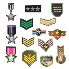 Personality Military Rank Patch Sticker Iron on Clothes DIY Medal Heat Transfer Applique Embroidered Cloth Fabric Patches Badge