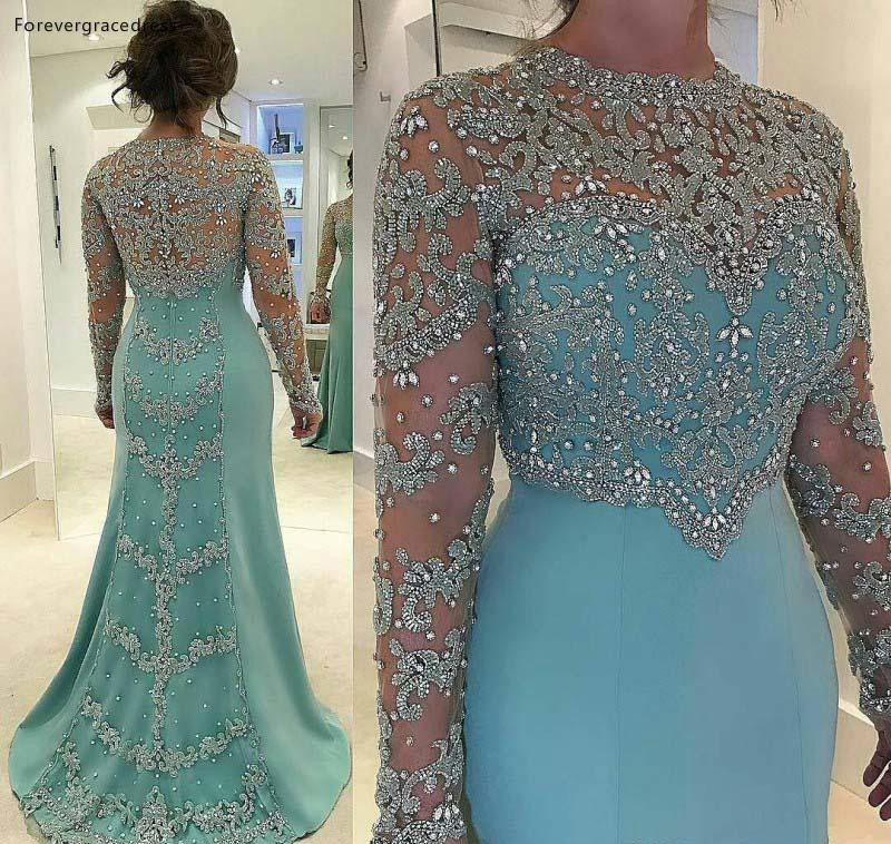 Luxurious Beaded Sequins Appliques Plus Size Mermaid Mother Dresses Sheer Long Sleeves Jewel Neck Formal Evening Prom Gowns Celebrity Dress  159 (2)