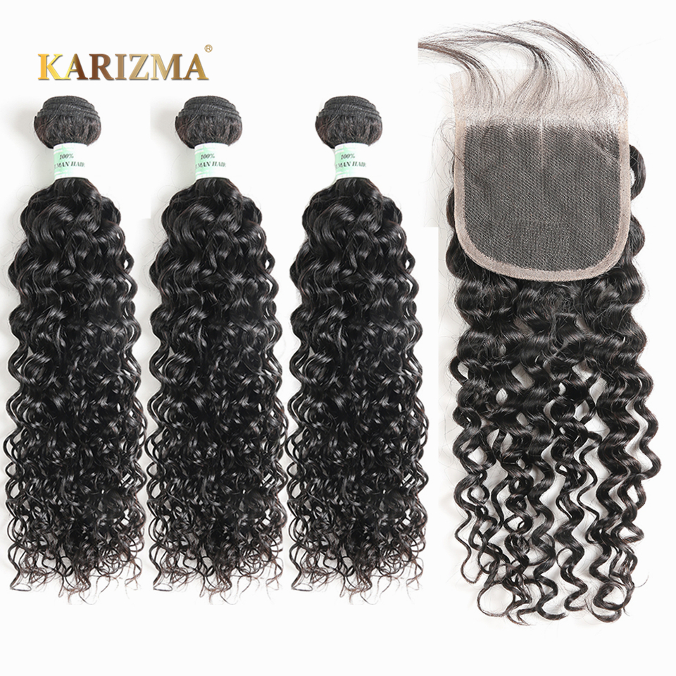 Karizma Peruvian Water Wave Bundles With Closure 100% Human Hair Bundles With Closure Non Remy 3 Bundles With Closure Free Ship