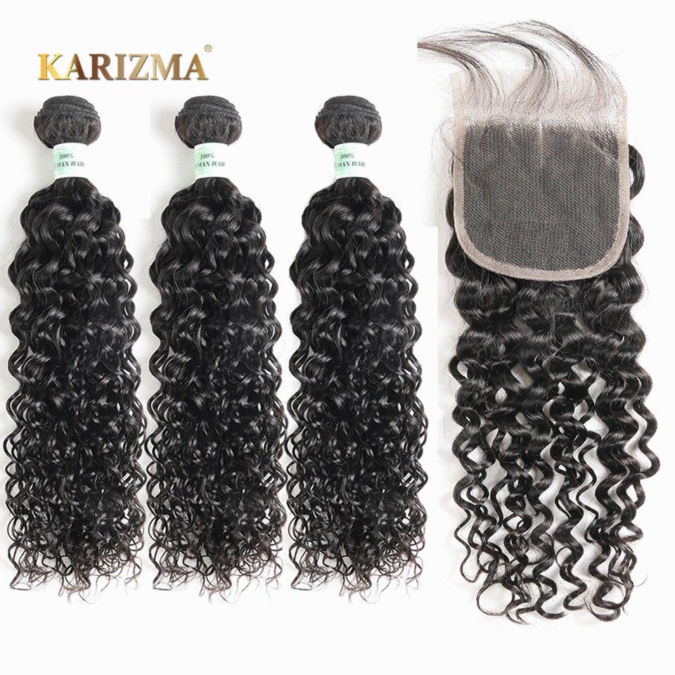 Karizma Peruvian Water Wave Bundles With Closure 100% Human Hair Bundles With Closure Non Remy 3 Bundles With Closure Free Ship
