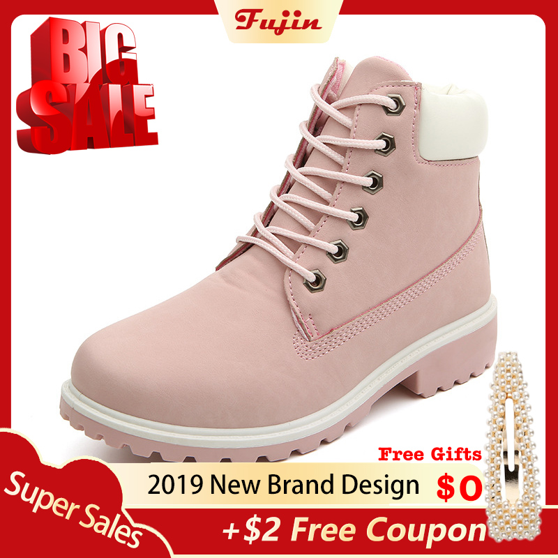 Fujin Shoes Platform-Boots Spring-Fall Female Botas Winter Women Brand Ankle Rubber Top-Quality