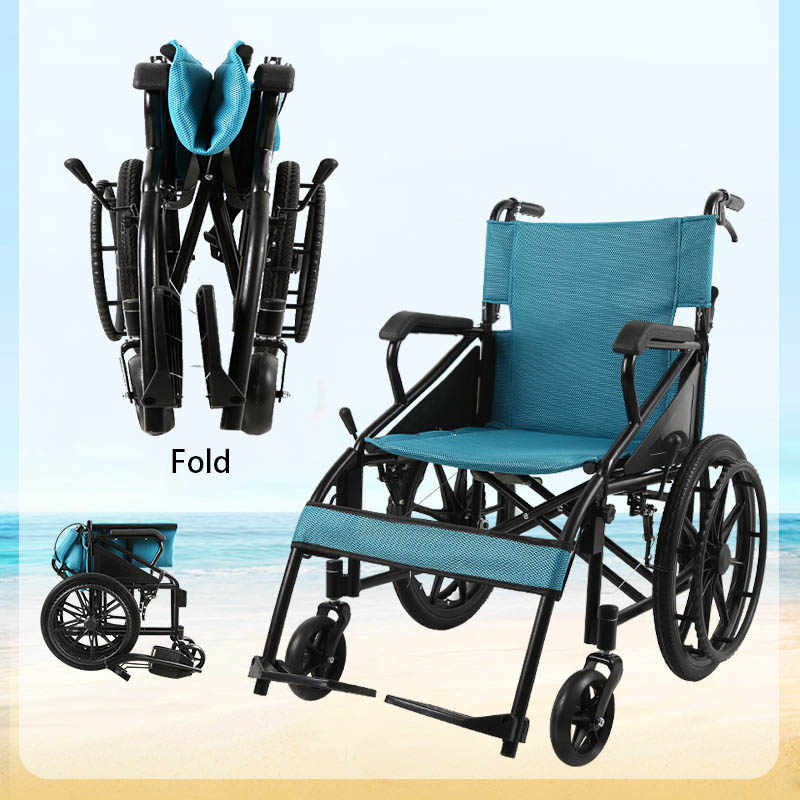 Wheel Chair Wheelchair Solid Tire Fashion Delicate Blue Folding Portable Lightweight Aluminum Alloy Wheelchairs For Disabled