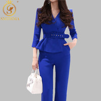 SMTHMA 2019 New Women Jumpsuits Sexy Office Lady Fashion Wide Legs Female Bodycon Ruffle Rompers Free belt